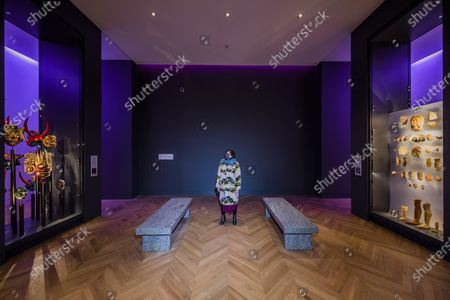 Stock Picture of Jenny Holzer's artwork - For Science - in Medicine: The Wellcome Galleries of the Science Museum - marking a year since the opening of that gallery and the re-opening of the Museum after the second covid 19 lockdown. The work comprises two benches that offer a place of respite and reflection in the gallery. . Constructed from Silver Cloud granite, the benches are inscribed with words from two writers who experienced medical treatment: Susan Sontag and Paul Kalanithi. The texts are taken from Sontag's Illness as Metaphor from 1978 - 'Illness is the night-side of life' - and Kalanithi's When Breath Becomes Air from 2016 - 'What kind of life exists without language?'.