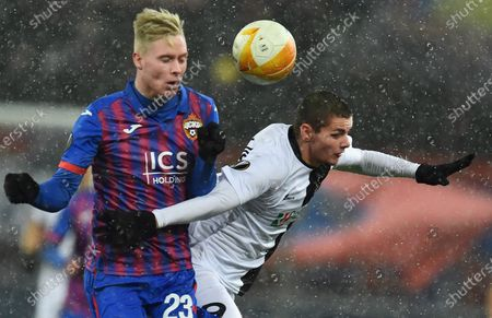 Stock Photo of CSKA player Hordur Magnusson (left) during the match.