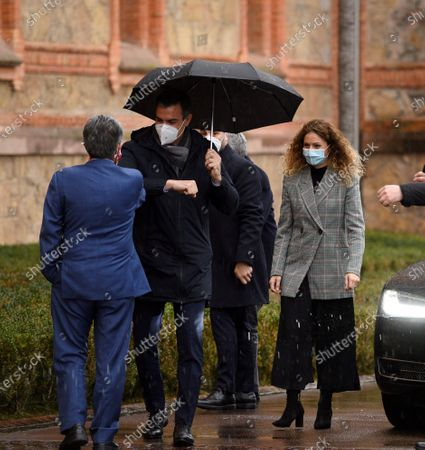 Spanish Prime Minister Pedro Sanchez (R) greets Cantabria's regional president Miguel Angel Revilla (L) at his arrival to Comillas village in Santander,Spain, 04 December 2020. Sanchez is scheduled to present the Economy Recovering Plan.
