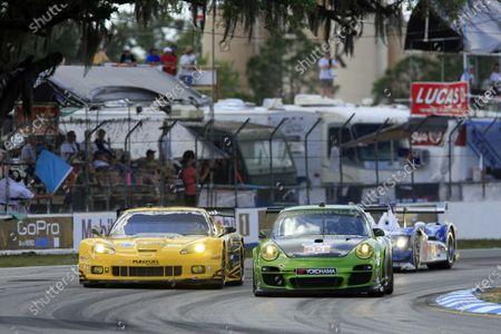Sebring, Florida, USA. 15th-17th March 2012, Peter LeSaffre/Damien Faulkner/Sebastiaan Bleekemolen - Green Hornet Racing Porsche 911 GT3 Cup World Copyright: Ebrey/LAT Photographic.