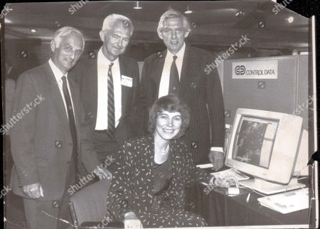 Editorial image of L-r John Houghton (met Office) Dr G Brian Tucker (iamap) Rober Pearce (reading University) And Virginia Bottomley With Weather Computer. Virginia Bottomley (now Baroness Bottomley Of Nettlestone)