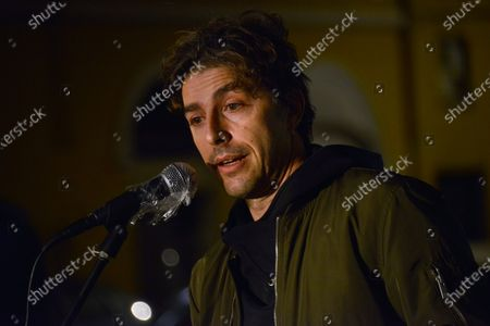 Stock Photo of Michele Riondino . This Piazza is Still Ours. The activists of the Nuovo Cinema Palazzo resist the eviction and enliven Piazza dei Sanniti with meetings, music and speeches