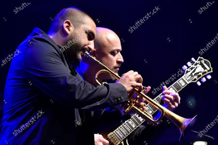 French-Lebanese trumpet player Ibrahim Maalouf performs during the Beirut Chants Festival at Beirut Souks in Beirut, Lebanon, 04 December 2020. The performance was held amid the Covid-19 coronavirus pandemic and the country's severe economic crisis.