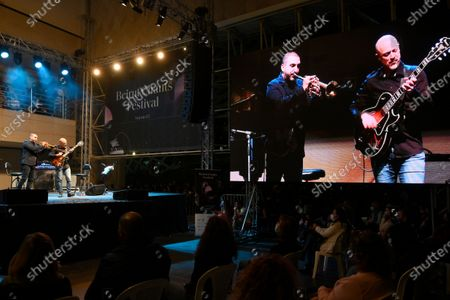 Stock Image of French-Lebanese trumpet player Ibrahim Maalouf performs during the Beirut Chants Festival at Beirut Souks in Beirut, Lebanon, 04 December 2020. The performance was held amid the Covid-19 coronavirus pandemic and the country's severe economic crisis.