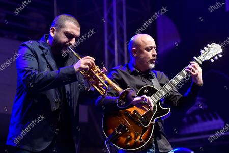 French-Lebanese trumpet player Ibrahim Maalouf (L) performs during the Beirut Chants Festival at Beirut Souks in Beirut, Lebanon, 04 December 2020. The performance was held amid the Covid-19 coronavirus pandemic and the country's severe economic crisis.