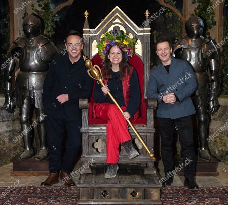 Giovanna Fletcher is crowned Queen of the Castle. With Ant and Dec. Please note, this image has been digitally manipulated due to social distancing measures.