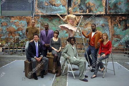 Lord Sebastian Coe with musician Nitin Sawhney, jazz singer Cleveland Watkiss, actress Scarlett Johnson, dancer Agnes Oaks, artist Yinka Shonibare and jazz saxophonist Soweto Kinch..