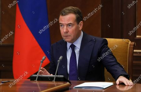 Stock Image of Russian Security Council Deputy Chairman Dmitry Medvedev attends a meeting on the state border infrastructure development via video conference in the Gorky residence outside Moscow Moscow, Russia