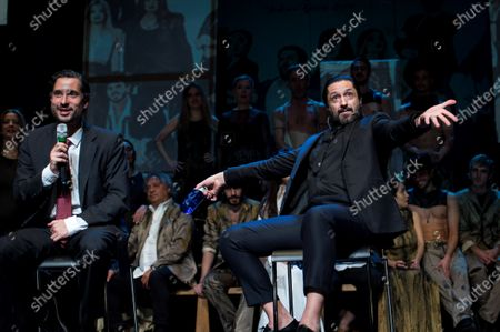 Stock Image of Spanish coreograoher and flamenco dancer Rafael Amargo (C-R), accompanied by his lawyer Candido Conde Pumpido (C-L), attends a press conference at La Latina Theater in Madrid, Spain, 04 December 2020. Amargo announced the postponement of the premiere of his last play 'Yerma' to next 05 December. Amargo was arrested for the alleged crimes of criminal organization and drug trafficking during a Spanish National Police operation on 01 December 2020 in Madrid.