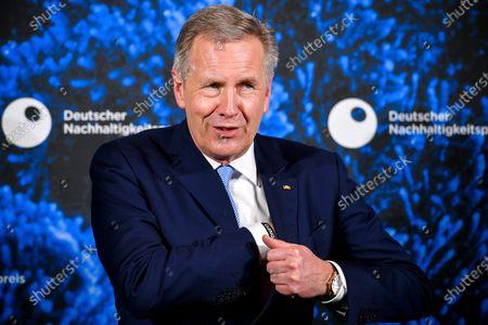 Former German President Christian Wulff reacts prior to 13th German Sustainability Award 'Deutscher Nachhaltigkeitspreis' 2020 at Maritim Hotel in Duesseldorf, Germany, 04 December 2020.