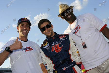 8-9 June, 2012, Fort Worth, Texas USA Driver Marco Andretti (#26) with Travis Pastrana (L) and Dion Sanders (R) before the race. (c)2012, F. Peirce Williams LAT Photo USA
