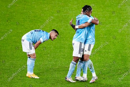 Lucas Olaza, Jeison Murillo and Renato Tapia of RC Celta celebrating the victory at full time