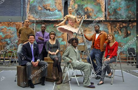 Lord Coe Launches The Cultural Olympiad With Young Stars From The World Of Culture; (l-r) Musician Nitin Sawhney Seb Coe Jass Singer Cleveland Watkiss Actress Scarlett Johnson Dancer Agnes Oaks Artist Yinka Shonibare And Jazz Saxophonist Soweto Kinch.