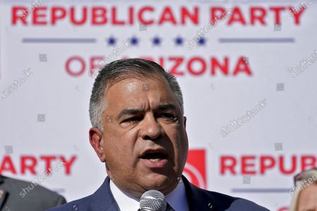 Citizens United President David Bossie speaks during an Arizona Republican Party news conference in Phoenix. The Pentagon has appointed two close political allies of President Donald Trump to a defense advisory board, continuing a purge of the Defense Department in the waning weeks of the Trump administration. The acting secretary of defense, Christopher Miller, said in a written statement Friday that nine members of the Defense Business Board had been replaced with the appointment of 11 new members. The new members include Corey Lewandowski and Bossie, who are among Trump's most outspoken allies