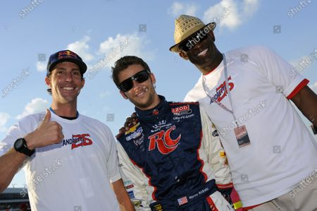 8-9 June, 2012, Fort Worth, Texas USA Driver Marco Andretti (#26) with Travis Pastrana (L) and Dion Sanders ¨ before the race. (c)2012, F. Peirce Williams LAT Photo USA