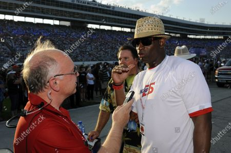 8-9 June, 2012, Fort Worth, Texas USA Dion Sanders interviewed on the grid. (c)2012, F. Peirce Williams LAT Photo USA