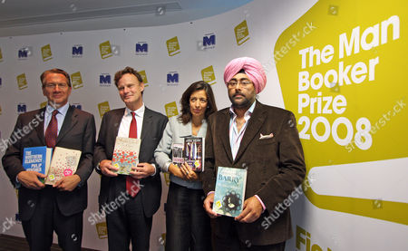 The Man Booker Prize Shortlist Announcement Picture Shows; Michael Portillo James Heneage Louise Doughty And Hardeep Singh.