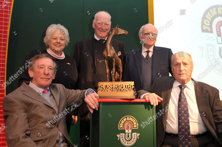 Stock Photo of (Back): Jenny Pitman, Ginger McCain, Sir Peter O'Sullevan; (front): Tommy Carberry and John Buckingham