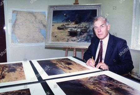 General Sir Peter De La Billiere Signing Limited Edition Gulf War Print By Terence Cuneo.
