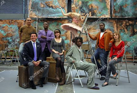Lord Sebastian Coe with musician Nitin Sawhney, jazz singer Cleveland Watkiss, actress Scarlett Johnson, dancer Agnes Oaks, artist Yinka Shonibare and jazz saxophonist Soweto Kinch.