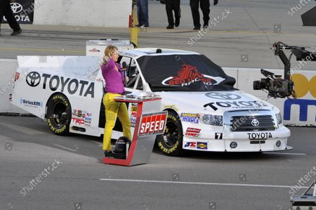 14-15 September, 2012, Newton, Iowa USA Krista Voda with Parker Kligerman truck, pre-race Trackside TV show (c)2012, Scott R LePage  LAT Photo USA