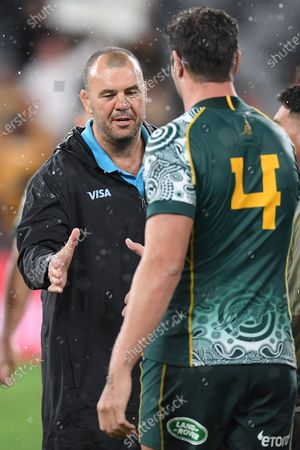 Stock Picture of Former Wallabies coach Michael Cheika, working as a consultant for the Puma's, shakes hands with Rob Simmons of the Wallabies during the Tri Nations rugby match between Argentina's Pumas and Australia's Wallabies at Bankwest Stadium, Sydney, Australia, 05 December 2020.