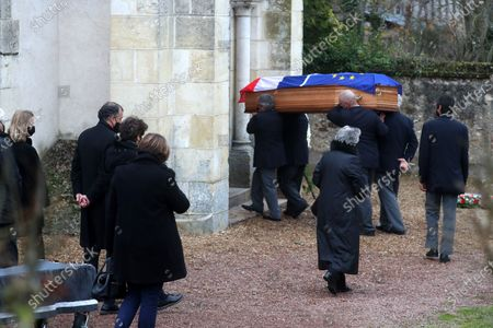 Anne-Aymone Giscard d'Estaing, wife of the late former French President Valery Giscard d'Estaing, and relatives follow the European and French flag-draped coffin containing Giscard d'Estaing's remains at the Saint Hilaire church in Authon, France, 05 December 2020. Giscard died of complications after contracting COVID 19 disease, at the age of 94. The former French president Valery Giscard D'Estaing was head of state from 1974 to 1981.