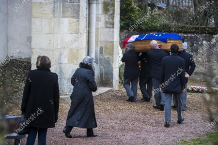 Anne-Aymone Giscard d'Estaing (C) , wife of the late former French President Valery Giscard d'Estaing, and relatives follow the European and French flag-draped coffin containing Giscard d'Estaing's remains at the Saint Hilaire church in Authon, France, 05 December 2020. Giscard died of on 02 December 2020 aged 94. The former French president Valery Giscard D'Estaing was head of state from 1974 to 1981.