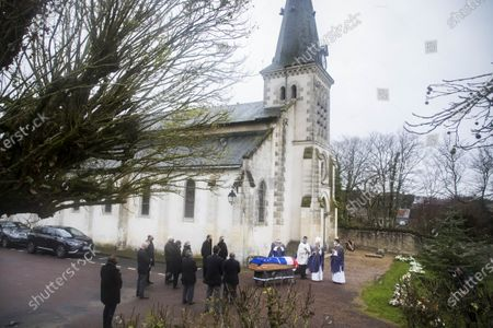Anne-Aymone Giscard d'Estaing, wife of the late former French President Valery Giscard d'Estaing, and relatives surround the European and French flag-draped coffin containing Giscard d'Estaing's remains at the Saint Hilaire church in Authon, France, 05 December 2020. Giscard died on 02 December 2020 aged 94. The former French president Valery Giscard D'Estaing was head of state from 1974 to 1981.