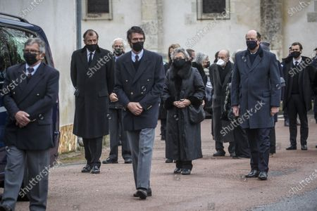 Anne-Aymone Giscard d'Estaing (C), widow of the late former French president Valery Giscard d'Estaing, and sons Henri (L) and Louis (R) follow the hearse of Giscard d'Estaing's at the Saint Hilaire church in Authon, France, 05 December 2020. Giscard died on 02 December 2020 aged 94. The former French president Valery Giscard D'Estaing was head of state from 1974 to 1981.