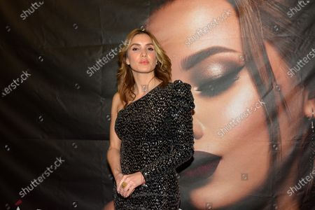 Andrea Escalona poses for photos during a red carpet of fashion cocktail at Campo Marte on December 3, 2020 in Mexico City, Mexico