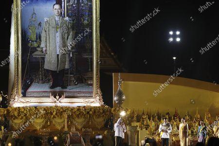 Stock Picture of Thai King Maha Vajiralongkorn Bodindradebayavarangkun (C), next to Thai Queen Suthida (C-R), Thai Princess Bajrakitiyabha, and Thai Princess Sirivannavari Nariratana (R), presides over a ceremony in remembrance of late Thai King Bhumibol Adulyadej's birth anniversary, at Sanam Luang ceremonial ground in Bangkok, Thailand, 05 December 2020. King Bhumibol died at the age of 88 on 13 October 2016 after 70 years on the throne.