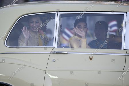 Thai Queen Suthida (L), Thai King Maha Vajiralongkorn Bodindradebayavarangkun (L,back) and Thai Princess Sirivannavari Nariratana (2-R) wave at well-wishers as the Royal motorcade carrying the Thai Royal family arrives before the start of a ceremony in remembrance of late Thai King Bhumibol Adulyadej's birthday anniversary and also marking the National Father's Day, at Sanam Luang ceremonial ground in Bangkok, Thailand, 05 December 2020. King Bhumibol died at the age of 88 on 13 October 2016 after 70 years on the throne.