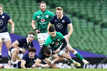 Ireland vs Scotland. Scotland's Ali Price and Conor Murray of Ireland