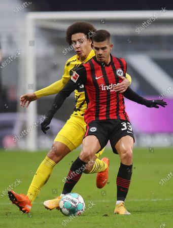 Andre Silva (R) of Eintracht Frankfurt is challenged by Axel Witsel of Borussia Dortmund during the German Bundesliga soccer match between Eintracht Frankfurt and Borussia Dortmund at Deutsche Bank Park in Frankfurt am Main, Germany, 05 December 2020.