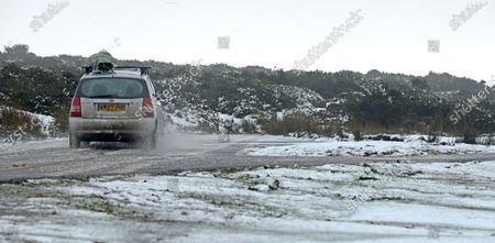 Stock Image of Tricky driving conditions on GospellPass,  between Hay on Wye and Capel Y Finn on the Welsh border with Herefordshire today (Sat).