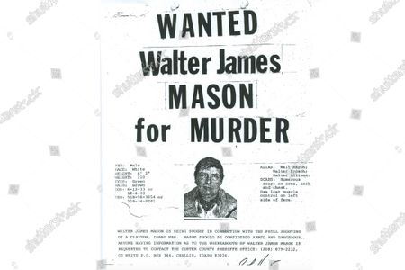"""Stock Picture of This 1980 wanted poster from the Custer County Sheriff's Office shows Walter James Mason as they sought him on a murder charge. Forty years ago, Brett Woolley's father Dan Woolley was shot in the parking lot of a small town bar deep in the Idaho mountains. Then the shooter crossed the street to the only other bar in town, ordered a drink, declared, """"I just killed a man,"""" and disappeared into the night. As days turned into years, Woolley accepted the likelihood that his father's murderer would never be found. But all that changed last fall when authorities arrested a former pro rodeo rider named Walter Mason in a small Texas village"""