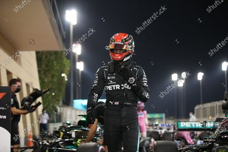 Mercedes driver George Russell of Britain, who earned the second best time, walks at the parc ferme after the qualifying for the Bahrain Formula One Grand Prix, at the Formula One Bahrain International Circuit in Sakhir, Bahrain, . The Bahrain Formula One Grand Prix will take place on Sunday