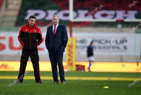 Stephen Jones and Wales Head Coach Wayne Pivac.