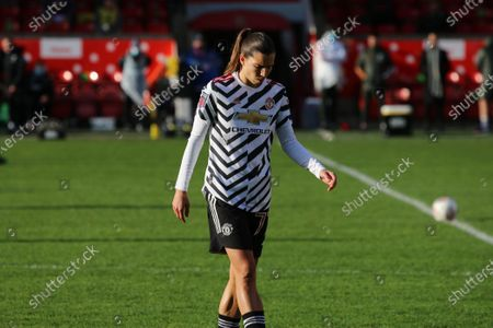 Tobin Heath (#77 Manchester United) during the FA Womens Super League 1 game between Aston Villa and Manchester United at Bescot Stadium in Walsall.