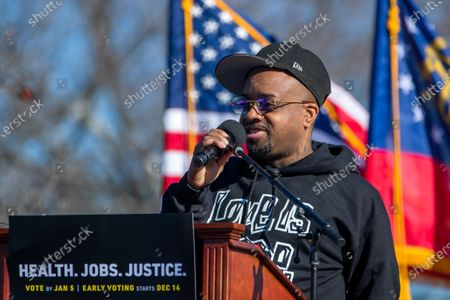 US rapper and hip hop producer Jermaine Dupri speaks in support of Democratic Georgia US Senate candidates Jon Ossoff and Reverend Rafael Warnock during a dual campaign event in Conyers, Georgia, USA, 05 December 2020. Ossoff is running against Republican Senator David Perdue and Warnock is running against Republican Senator Kelly Loeffler in a 05 January 2021 runoff election.