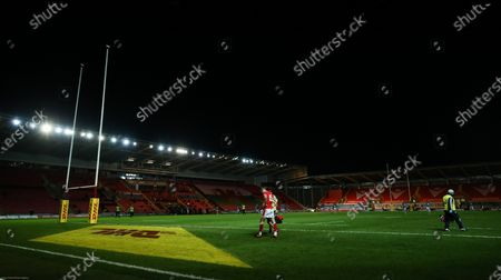 Liam Williams of Wales leaves the pitch after being injured