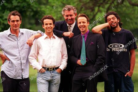 Businessmen Turned Models (l-r) Rupert Bevan Henry Dent-brocklehurst James Mullen Marc Hare And William Cawley.