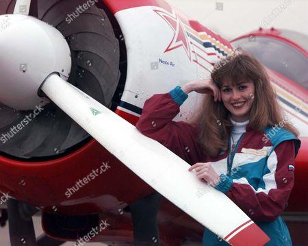 World Champion Aerobatic Pilot Svetlana Kapanina Who Will Fly A Stunning Series Of Solo Manoeuvres In Her Sukhoi Arcraft At Biggin Hill Air Show.