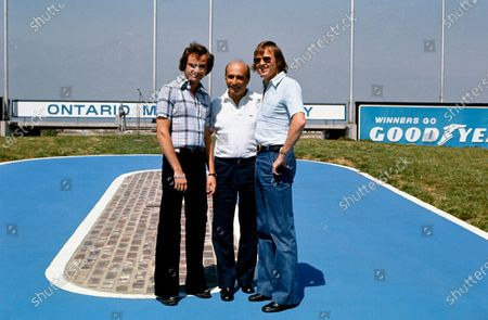 Ontario Motor Speedway, Quebec, Canada. Ronnie Peterson and Gunnar Nilsson meet Juan Manuel Fangio at a charity event before the USA Grand Prix at Long Beach, California, portrait.  World Copyright: LAT Photographic. Ref: 76LB26
