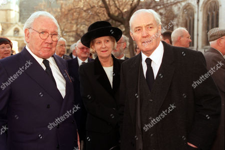 Lord King Pamela Powell And Tony Benn Pictured Outside St. Margaret's In Westminster London Where The Funeral Of Politician Enoch Powell Was Held.