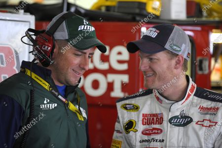 27-29 June, 2008, Loudon, New Hampshire USA Dale Earnhardt Jr. and Billy Davis ©2008, LAT South, USA LAT Photographic