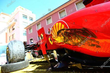 Monte Carlo, Monaco 29th May 2011 The damaged car of Felipe Massa, Ferrari 150° Italia, retired, showing tyre scuff marks on the sidepod. Detail. Crashes. World Copyright: Andy Hone/LAT Photographic