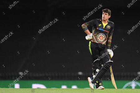 Moises Henriques of Australia looks on during the second T20 cricket match between Australia and India at the SCG in Sydney, Australia, 06 December 2020.