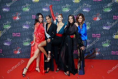 Exclusive - (L-R) Cindy Fabre, Clemence Botino, Maeva Coucke, Vaimalama Chaves and Malika Menard